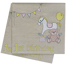 Buy Ginger Ray Rock A Bye Baby Age 1 Napkin, Pack Of 20 Online at johnlewis.com
