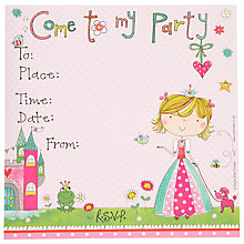 Buy Rachel Ellen Princess Invites, Pink, Set Of 8 Online at johnlewis.com
