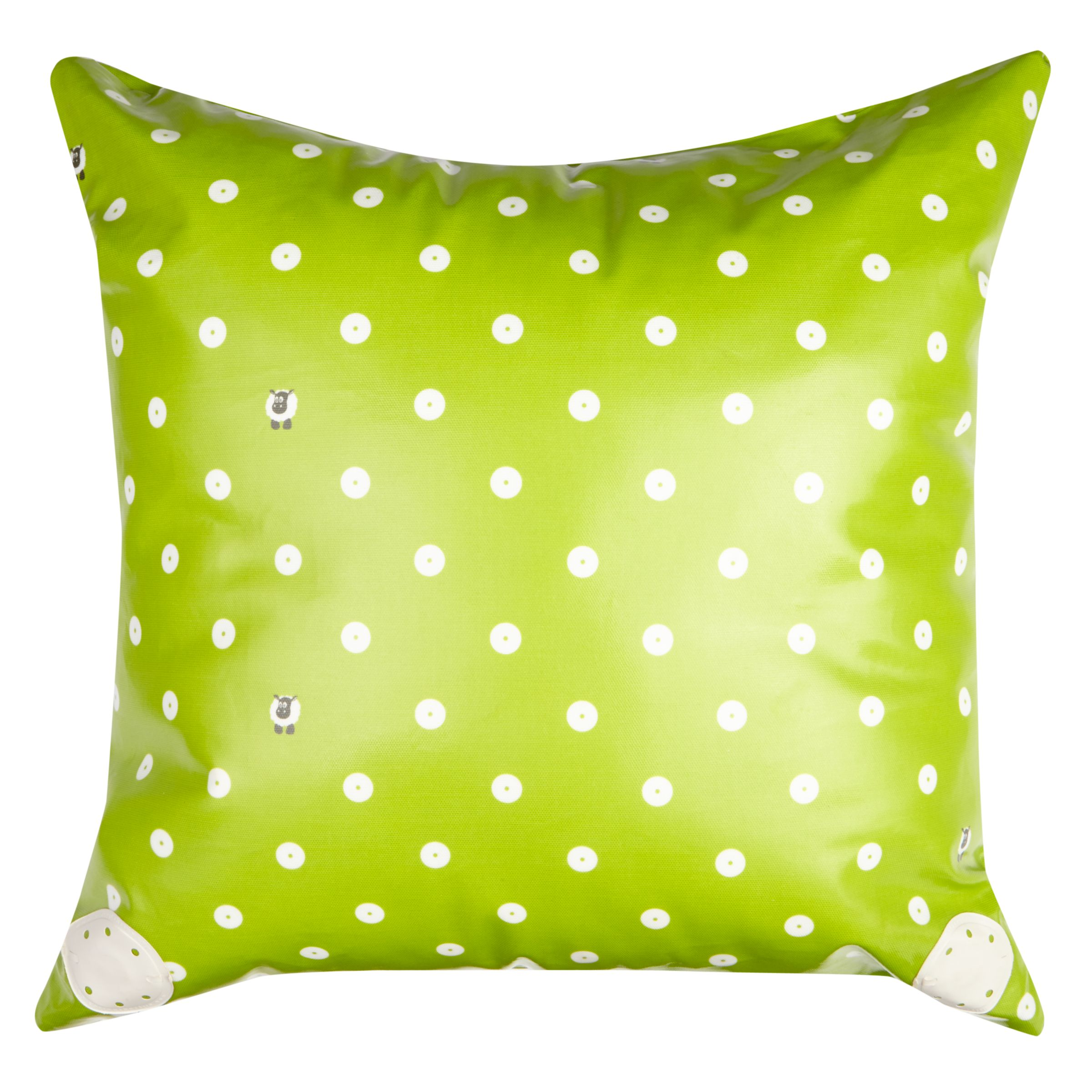 Oily Rag Spotty Outdoor Cushion, 40 x 40cm, Lime Green