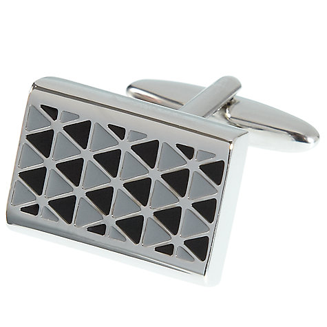 Buy John Lewis Black Enamel Lattice Cufflinks, Black/Silver Online at johnlewis.com