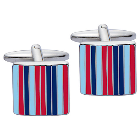Buy John Lewis Enamel Stripe Cufflinks, Blue/Red Online at johnlewis.com