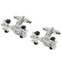 Buy John Lewis Formula One Rhodium & Enamel Cufflinks, Silver Online at johnlewis.com