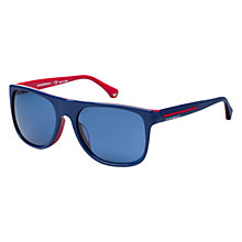 Buy Emporio Armani EA4014 510380 Square Acetate Frame Sunglasses, Blue/Red Online at johnlewis.com