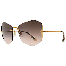 Buy Miu Miu MU52OS 7OE1E2 Butterfly Frameless Metal Arm Sunglasses, Gold Online at johnlewis.com