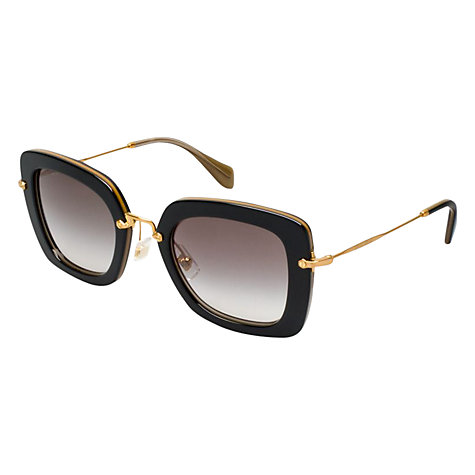 Buy Miu Miu MU07OS KAY0A7 Square Frame Sunglasses,  Black/Gold Online at johnlewis.com