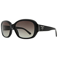 Buy Prada PR 31NS 1AB3M1 Round Sunglasses Gloss Black Online at johnlewis.com