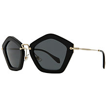 Buy Miu Miu MU06OS 1AB1A1 Octagonal Framed Sunglasses, Black Online at johnlewis.com