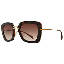 Buy Miu Miu MU07Os KAZ0A6 Oversize Square Frame Metal Arm Sunglasses, Brown/Gold Online at johnlewis.com