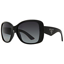 Buy Prada PR32PS 1AB5W1 Oversized Square Frame Polarised Sunglasses, Black Online at johnlewis.com