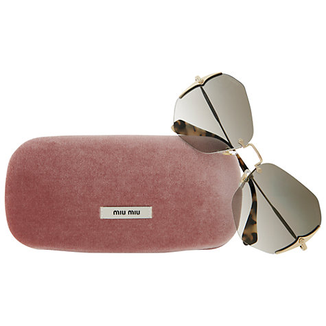 Buy Miumiu 0MU 52OS ZVN0A7 Diamond Shaped Sunglasses, Pale Gold Online at johnlewis.com