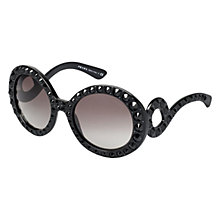 Buy Prada PR31PS 1ABOA7 Round Ornate Crystal Sunglasses, Black Online at johnlewis.com