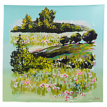 Buy Joules Clarence Meadow Scene Print Silk Square Scarf, Green Online at johnlewis.com