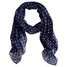 Buy Joules Wensley Spot Chiffon Scarf, Navy Online at johnlewis.com