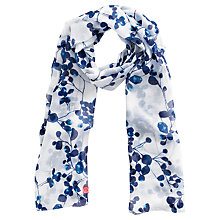 Buy Joules Wensley Bud Print Chiffon Scarf, Navy/White Online at johnlewis.com