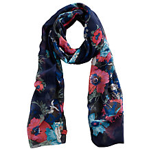 Buy Joules Wensley Bouquet Print Polyester Chiffon Scarf, Navy Online at johnlewis.com