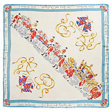 Buy Joules Britannia Silk Square Scarf, Blue/Cream Online at johnlewis.com