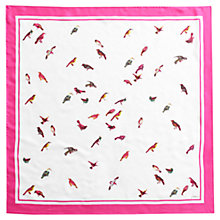 Buy Joules Bloomfield Bird Print Silk Square Scarf, Cream/Pink Online at johnlewis.com