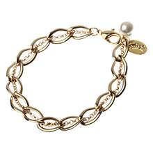 Buy Adele Marie Made In The UK Gold Plated Link Faux Pearl Bracelet Online at johnlewis.com