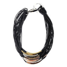 Buy Adele Marie Black Cord Mixed Toned Metal Necklace Online at johnlewis.com