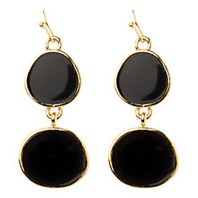 Buy Adele Marie Gold Plated Enamel Drop Earrings, Black Online at johnlewis.com