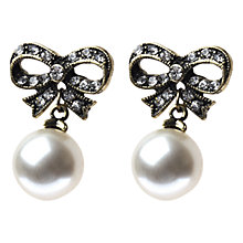 Buy Adele Marie Gold Plated Faux Pearl And Crystal Bow Earrings Online at johnlewis.com