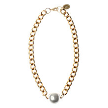 Buy Adele Marie Made in the UK 14ct Gold Plated Large Pearl Chain Necklace Online at johnlewis.com