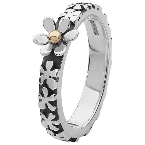 Buy Linda Macdonald Sterling Silver 9ct Gold Flower Ring, Size N Online at johnlewis.com