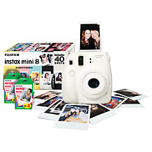 Buy Fujifilm Instax Mini 8 Analogue Camera with 40 Shots, White with Instax Mini Film, 20 Shots Online at johnlewis.com