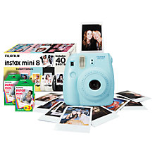 Buy Fujifilm Instax Mini 8 Analogue Camera with 40 Shots, Blue with Instax Mini Film, 20 Shots Online at johnlewis.com