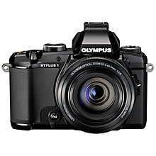 "Buy Olympus Stylus 1 Bridge Camera, HD 1080p, 12MP, 10.7x Optical Zoom, Wi-Fi, EVF, 3"" Screen, Black with 16GB + 8GB Memory Card Online at johnlewis.com"