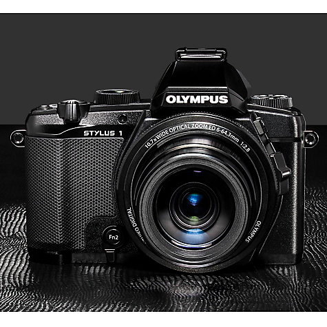 Buy Olympus Stylus 1 Bridge Camera, HD 1080p, 12MP, 10.7x Optical Zoom, Wi-Fi, EVF, 3 Screen, Black Online at johnlewis.com