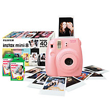 Buy Fujifilm Instax Mini 8 Analogue Camera with 40 Shots, Pink with Instax Mini Film, 20 Shots Online at johnlewis.com