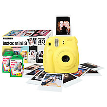 Buy Fujifilm Instax Mini 8 Analogue Camera with 40 Shots, Yellow with Instax Mini Film, 20 Shots Online at johnlewis.com