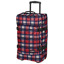 Buy Eastpak Transfer Medium 2-Wheel Holdall, Checkbook Red/Navy Online at johnlewis.com