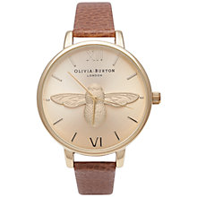Buy Olivia Burton OB14AM28 Women's Bee Motif Leather Strap Watch, Tan Online at johnlewis.com