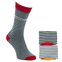Buy Ted Baker Houndstooth Print Socks, Pack Of 2, Blue Online at johnlewis.com
