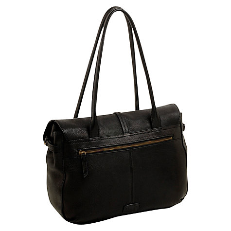 Buy Radley Grosvenor Medium Leather Flapover Shoulder Handbag, Black Online at johnlewis.com