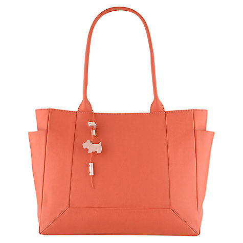 Buy Radley Border Leather Large Zip Top Tote Bag, Coral Online at johnlewis.com