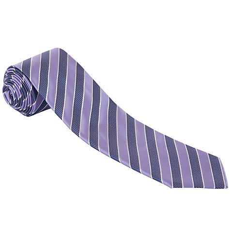 Buy BOSS Stripe Silk Tie, Purple Online at johnlewis.com