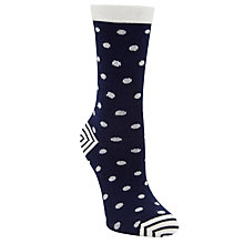 Buy John Lewis Polka Dot Ankle Socks, Navy White Online at johnlewis.com