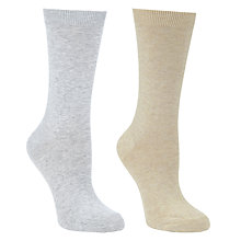 Buy John Lewis Plain Ankle Socks, Grey, Pack of 2 Online at johnlewis.com