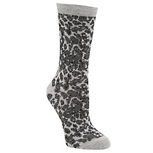 Buy John Lewis Animal Print Ankle Socks, Dark Grey Online at johnlewis.com