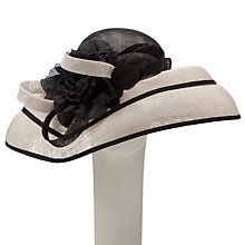 Buy John Lewis Lacy Large Brim Occasion Hat, Black / Oyster Online at johnlewis.com