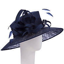 Buy John Lewis Kira Large Shantung Occasion Hat, Navy Online at johnlewis.com