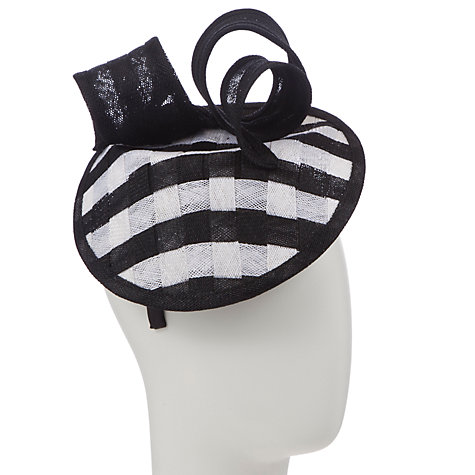 Buy John Lewis Jan Angled Monchrome Weave Disc Hat Fascinator, Black/White Online at johnlewis.com