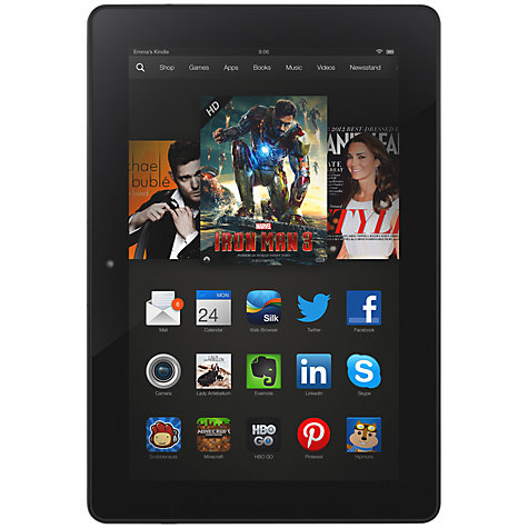 "Buy Amazon Kindle Fire HDX Tablet, Qualcomm Snapdragon, Fire OS, 7"", Wi-Fi & 4G LTE, 32GB, Black Online at johnlewis.com"