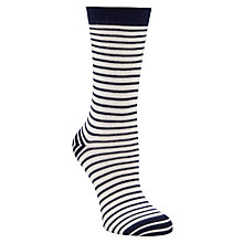 Buy John Lewis Nautical Striped Ankle Socks, White/Navy Online at johnlewis.com