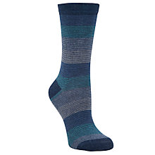 Buy John Lewis Graduating Striped Ankle Socks, Blue Online at johnlewis.com