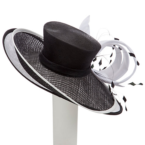 Buy Snoxells Myhat Anna Double Brim Occasion Hat, Black/White Online at johnlewis.com