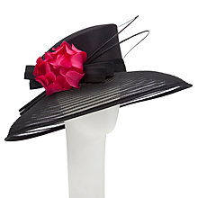 Buy John Lewis May Braid Down Brim Occasion Hat, Black/Pink Online at johnlewis.com